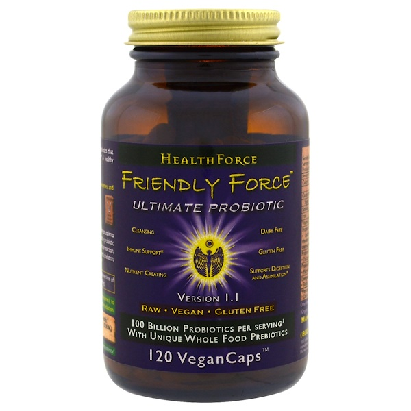 HealthForce Superfoods, Friendly Force, The Ultimate Probiotic, 120 Vegan Caps (Discontinued Item)