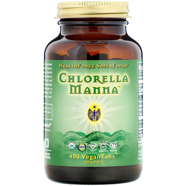 HealthForce Superfoods, Clorela Maná, 400 Tabletas Vegetarianas