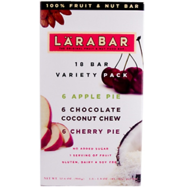 Larabar, Variety Pack, Apple Pie, Chocolate Coconut Chew, Cherry Pie, 18 Bars (6 of Each Flavor) (Discontinued Item)