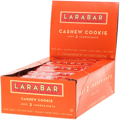Купить Larabar The Original Fruit & Nut Food Bar, Cashew Cookie, 16 Bars, 1.7 oz (48 g) Each