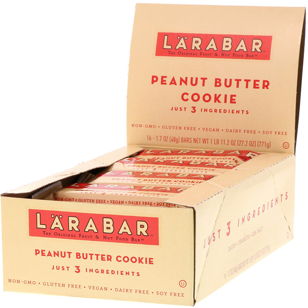 Larabar, The Original Fruit & Nut Food Bar, Peanut Butter Cookie, 16 Bars, 1.7 oz (48 g) Each (Discontinued Item)