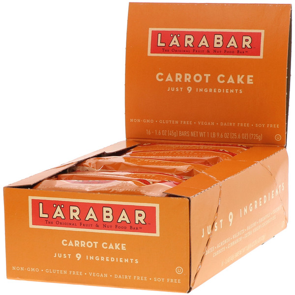 Larabar, The Original Fruit & Nut Food Bar, Carrot Cake, 16 Bars, 1.6 oz (45 g) Each