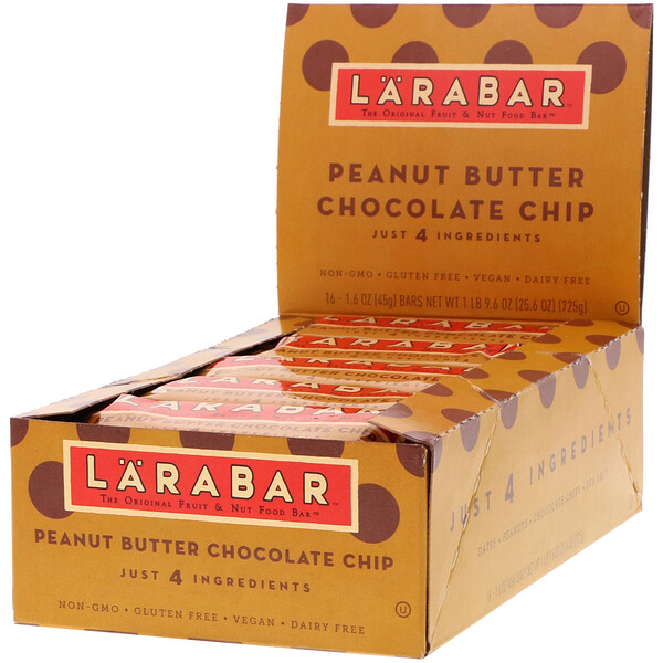 The Original Fruit & Nut Food Bar, Peanut Butter Chocolate Chip, 16 Bars, 1.6 oz (45 g) Each