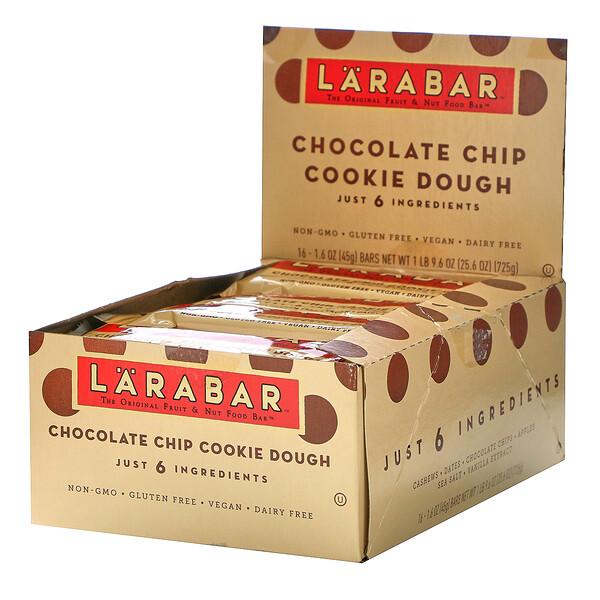 The Original Fruit & Nut Food Bar, Chocolate Chip Cookie Dough, 16 Bars, 1.6 oz (45 g) Each
