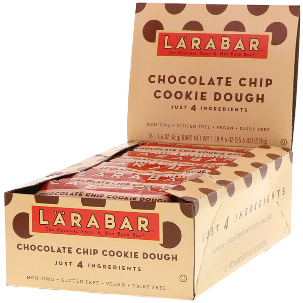 Larabar, The Original Fruit & Nut Food Bar, Chocolate Chip Cookie Dough, 16 Bars, 1.6 oz (45 g) Each