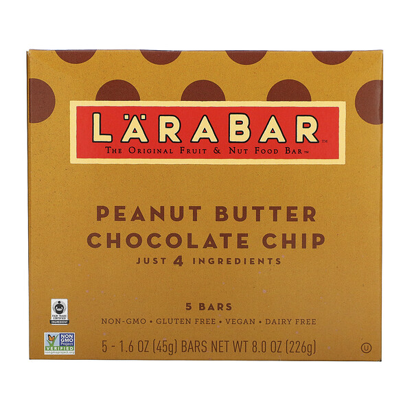 Larabar, Original Fruit&Nut 代餐棒,花生酱巧克力碎,5 根,每根 1.6 盎司(45 克)