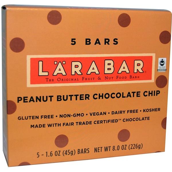 Larabar, Peanut Butter Chocolate Chip, 5 Bars, 1.6 oz (45 g) Each