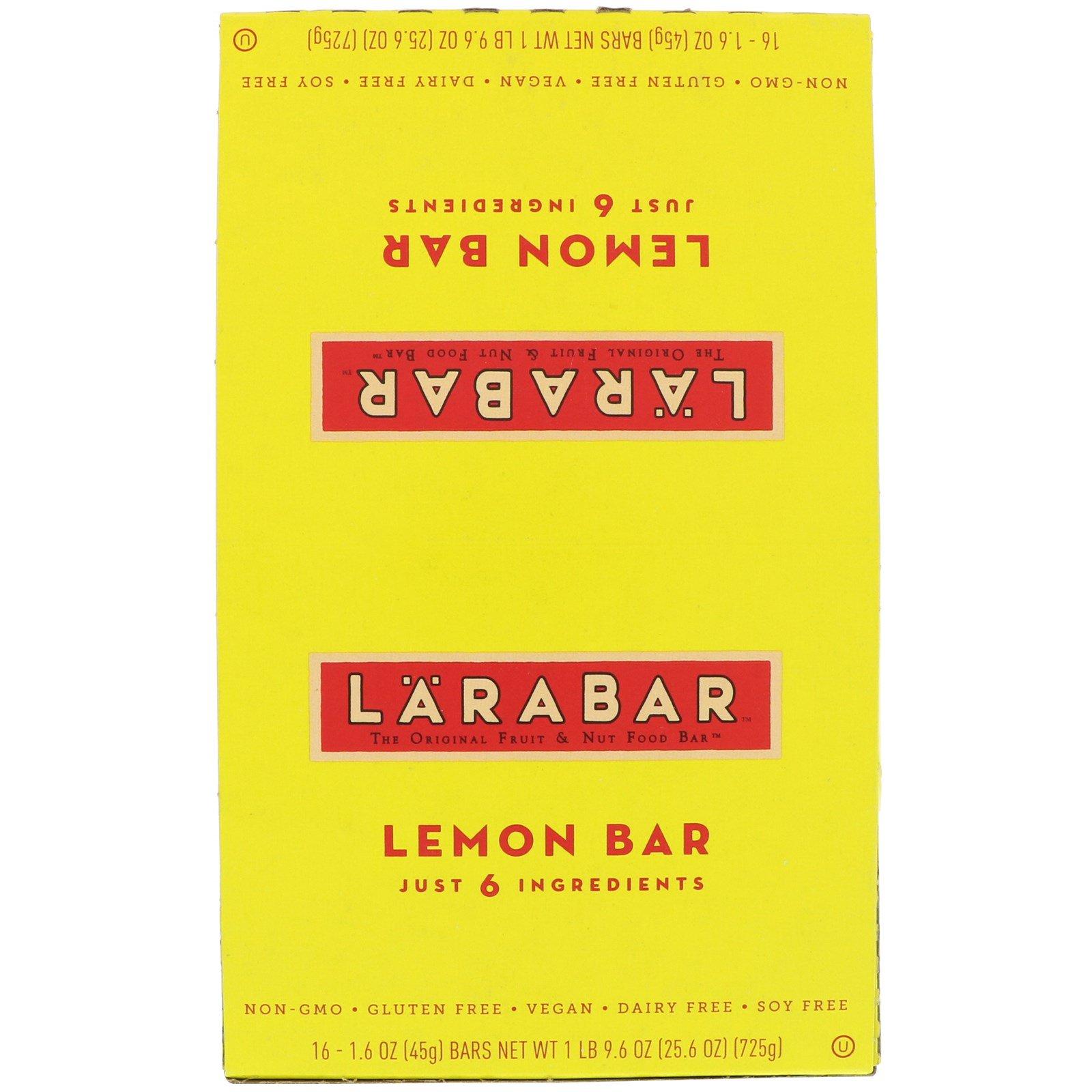 Larabar, Лимонный батончик, 16 батончиков, 1,6 унции (45 г) каждый