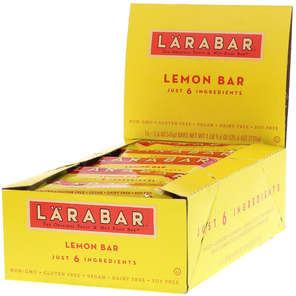 Larabar, The Original Fruit & Nut Food Bar, Lemon Bar, 16 Bars, 1.6 oz (45 g) Each