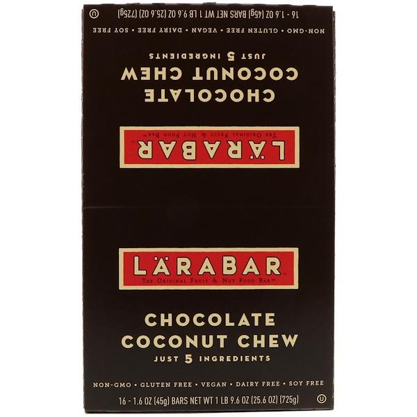 Larabar, 巧克力椰子咀嚼棒,16條,每條1、6盎司(45克)
