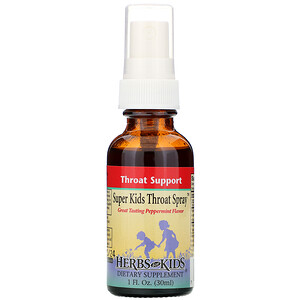 Хербс фо кидс, Super Kids Throat Spray, Peppermint Flavor, 1 fl oz (30 ml) отзывы покупателей