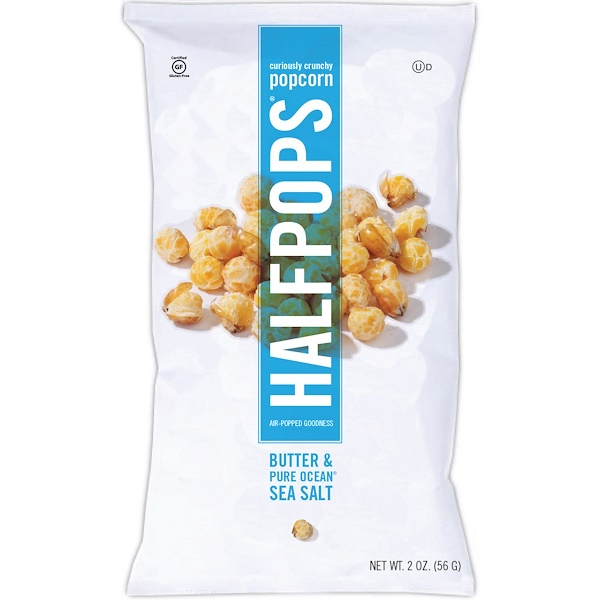 Halfpops, Curiously Crunchy Popcorn, Butter & Pure Ocean Sea Salt, 16 Packs, 2 oz (56 g) Each (Discontinued Item)