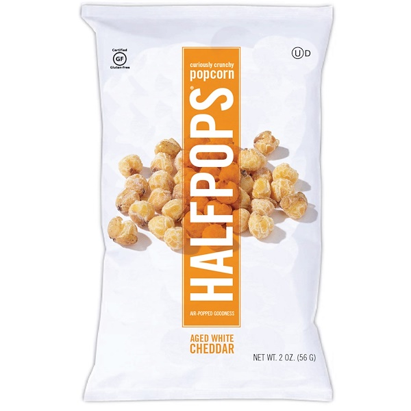 Halfpops, Curiously Crunchy Popcorn, Aged White Cheddar, 16 Packs, 2 oz (56 g) Each (Discontinued Item)