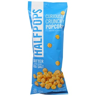 Halfpops, Curiously Crunchy Popcorn, Butter & Pure Ocean Sea Salt, 4.5 oz (128 g)