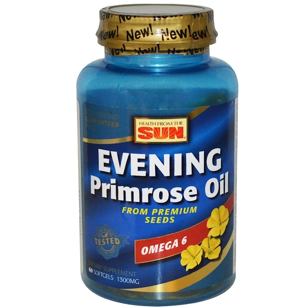 Evening Primrose Oil, Omega-6, 1300 mg, 60 Softgels