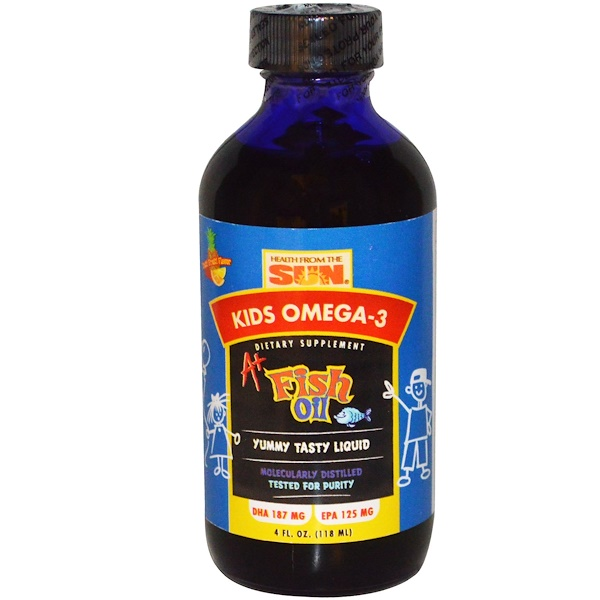 Health From The Sun, Kids Omega-3, A+ Fish Oil, Tutti Frutti Flavor, 4 fl oz (118 ml) (Discontinued Item)