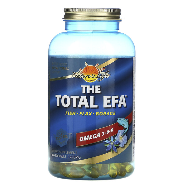 Health From The Sun, The Total EFA, Omega 3-6-9, 1,200 mg, 180 Softgels