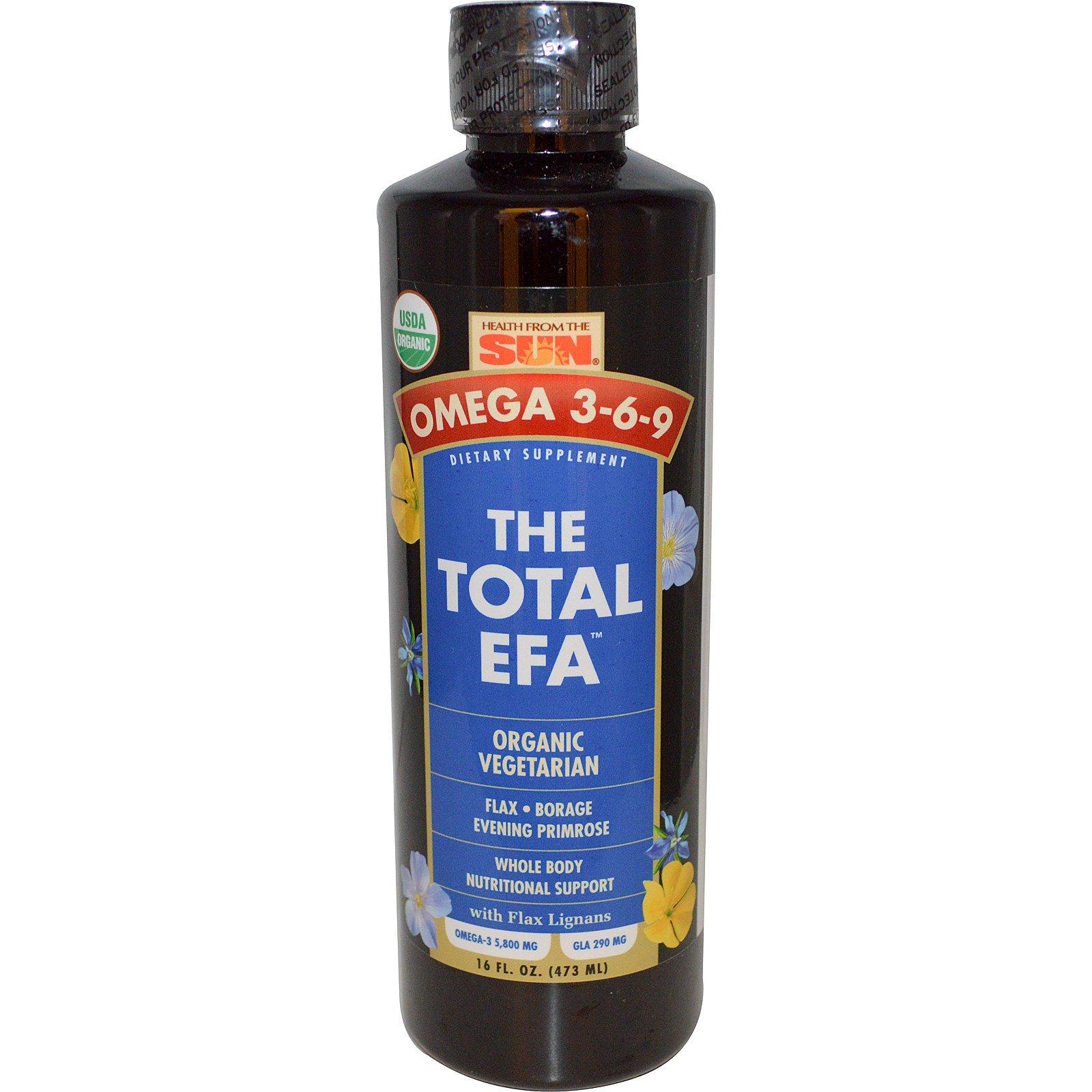 Health From The Sun, Омега 3-6-9, he Total EFA, органическая вегетарианская 16 жидких унции (473 мл)