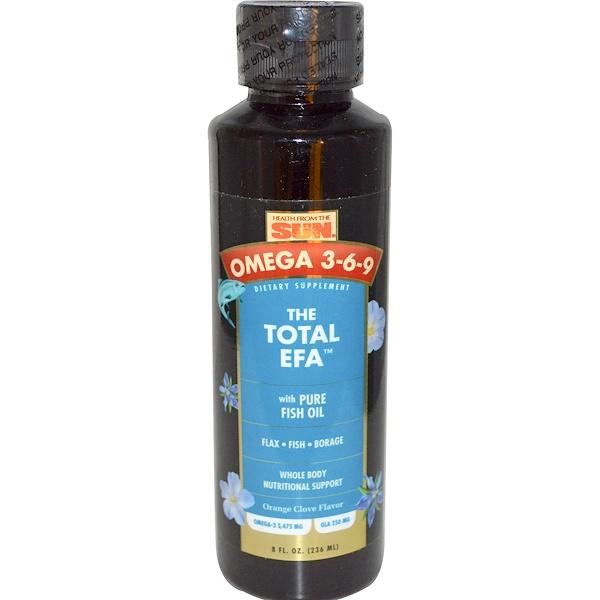 Health From The Sun, The Total EFA, Omega 3-6-9, Orange Clove Flavor, 8 fl oz (236 ml) (Discontinued Item)