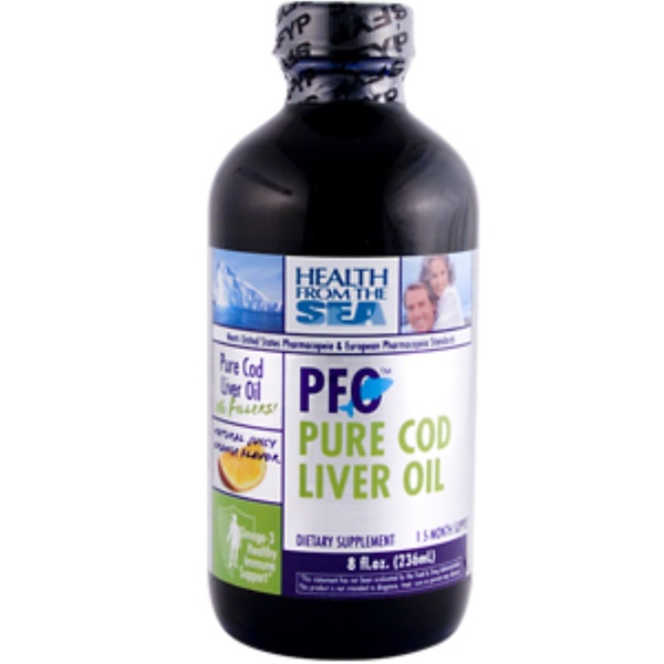 Health From The Sun, PFO Pure Cod Liver Oil, Natural Juicy Orange Flavor, 8 fl oz (236 ml) (Discontinued Item)