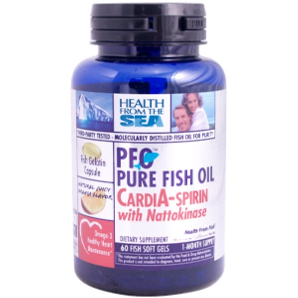 Health From The Sun, PFO Pure Fish Oil Cardia-Spirin with Nattokinase, 60 Soft Gels (Discontinued Item)