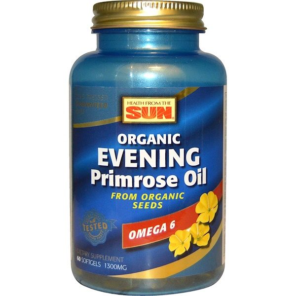Health From The Sun, Organic, Evening Primrose Oil, Omega-6, 1,300 mg, 60 Softgels (Discontinued Item)