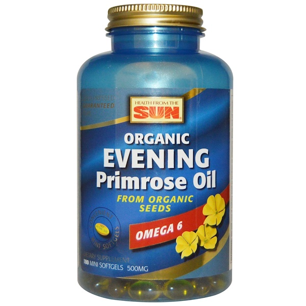 Health From The Sun, Organic Evening Primrose Oil, Omega-6, 500 mg, 180 Mini Softgels (Discontinued Item)