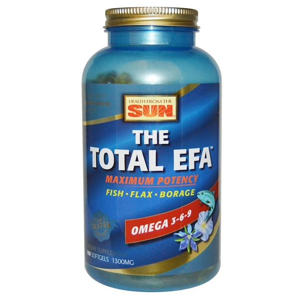 Health From The Sun, The Total EFA、マキシマム・ポテンシー、1300 mg、ソフトジェル180 錠 (Discontinued Item)