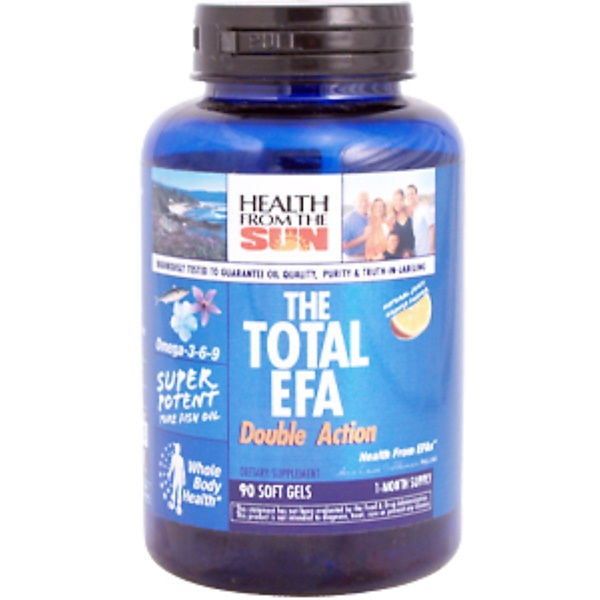 Health From The Sun, The Total EFA Double Action, Natural Juicy Orange Flavor, 90 Softgels (Discontinued Item)
