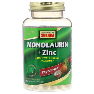Health From The Sun, Monolaurin + Zinc, 90 Vegetarian Capsules
