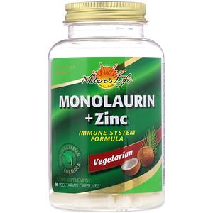 Натурес Лифе, Monolaurin + Zinc, 90 Vegetarian Capsules отзывы покупателей
