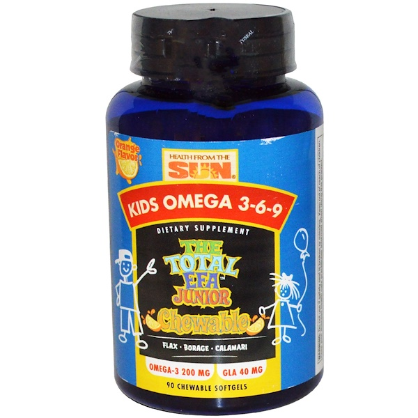 Health From The Sun, Kids Omega 3-6-9, The Total EFA Junior Chewable, Orange Flavor, 90 Chewable Softgels (Discontinued Item)