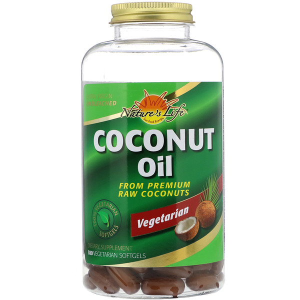 Coconut Oil, 180 Vegetarian Softgels