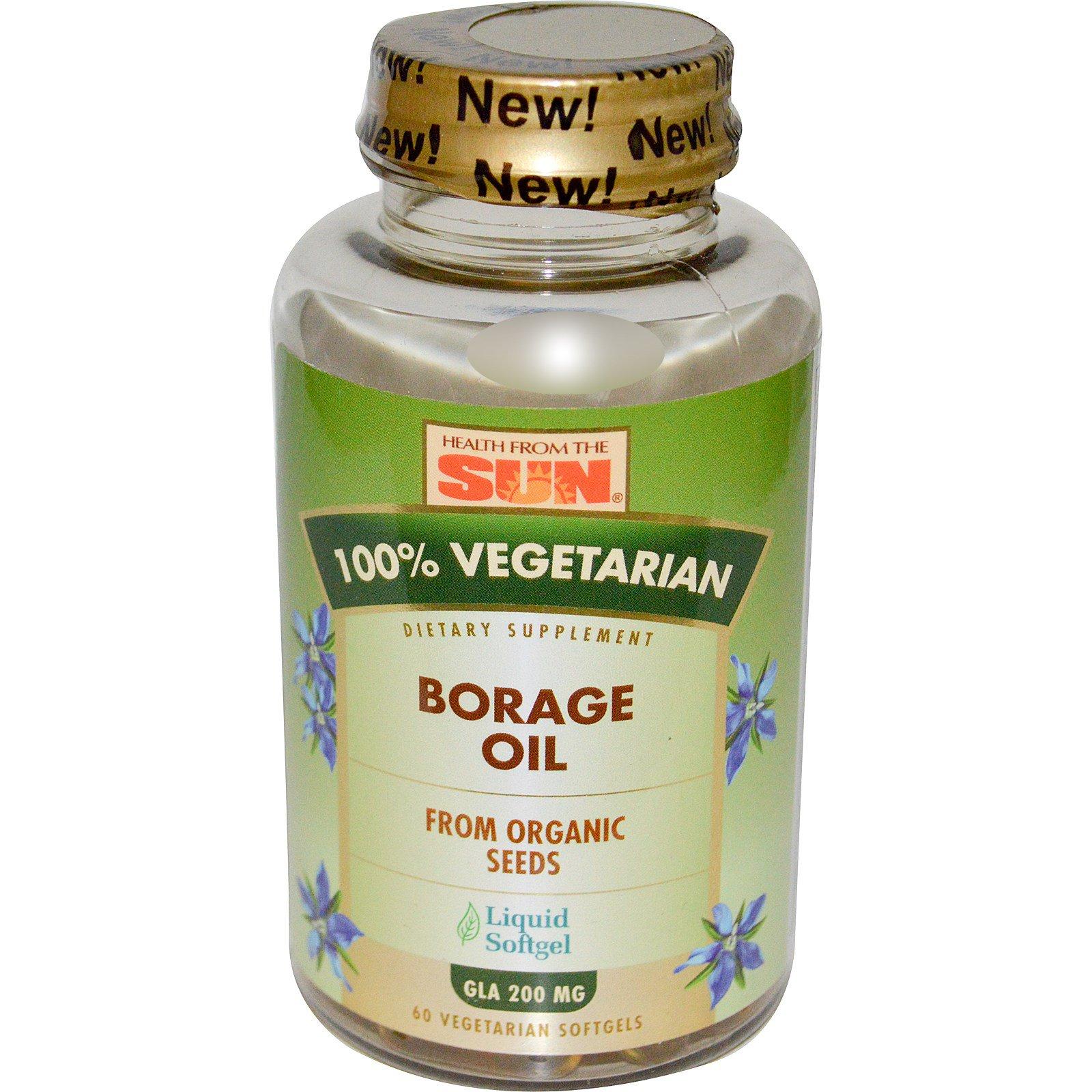 Health From The Sun, На 100% вегетарианское масло огуречника, 60 вегетарианских мягких желатиновых капсул
