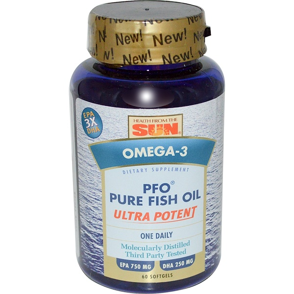 Health From The Sun, PFO Pure Fish Oil, Ultra Potent, Omega-3, 60 Softgels (Discontinued Item)