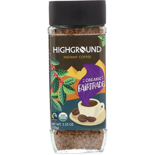 Highground Coffee, Organic Instant Coffee, Medium, 3.53 oz (100 g)