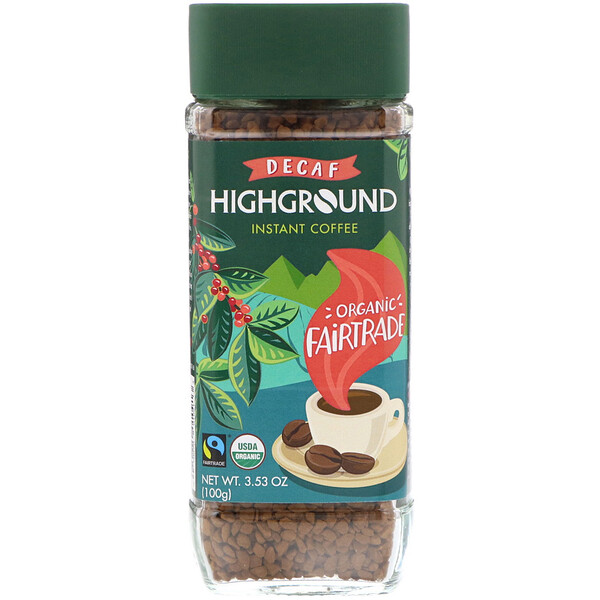 Highground Coffee, Organic Instant Coffee, Medium, Decaf, 3.53 oz (100 g)