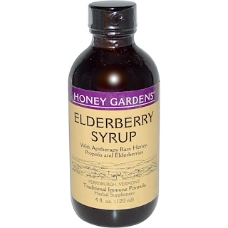 Honey Gardens, Elderberry Syrup with Apitherapy Raw Honey, Propolis and Elderberries, 4 fl oz (120 ml)