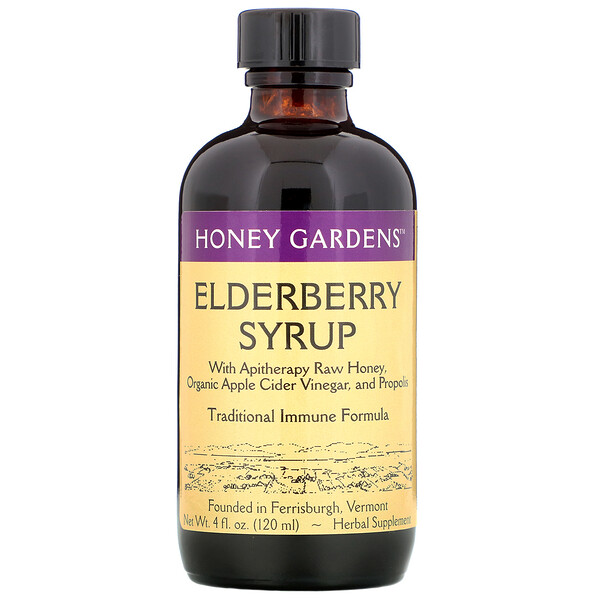 Elderberry Syrup with Apitherapy Raw Honey, Propolis and Elderberries, 4 fl oz (120 ml)