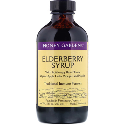 Honey Gardens Elderberry Syrup with Apitherapy Raw Honey, Organic Apple Cider Vinegar and Propolis, 8 fl oz (240 ml)