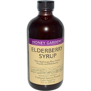 Honey Gardens, Elderyberry Syrup with Apitherapy Raw Honey, Propolis and Elderberries, 8 fl oz (240 ml)