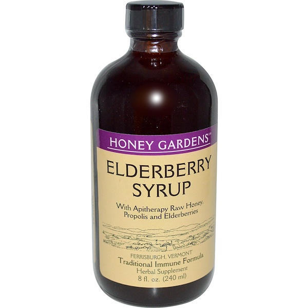 Honey Gardens, Elderyberry Syrup with Apitherapy Raw Honey, Propolis and Elderberries, 8 fl oz (240 ml)