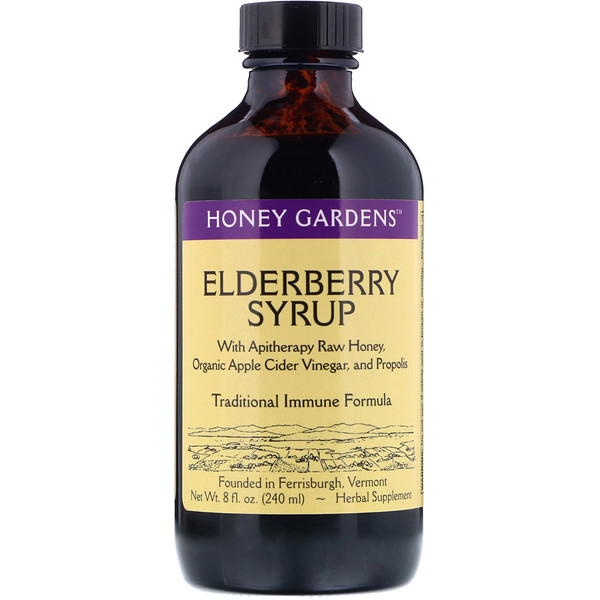 Honey Gardens, Elderberry Syrup with Apitherapy Raw Honey, Organic Apple Cider Vinegar and Propolis, 8 fl oz (240 ml)
