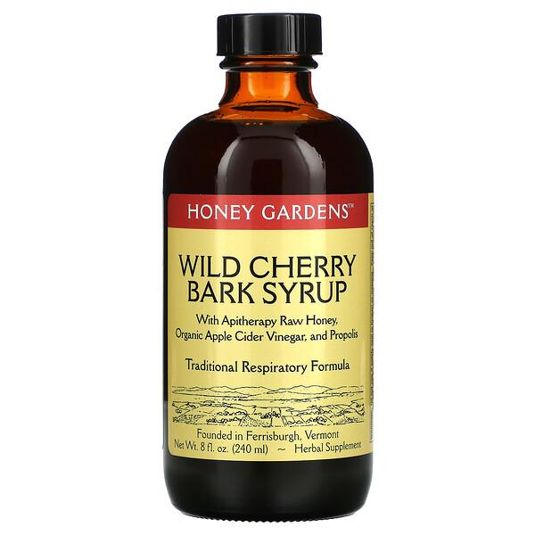 Wild Cherry Bark Syrup with Apitherapy Raw Honey, Organic Apple Cider Vinegar, and Propolis, 8 fl oz (240 ml)