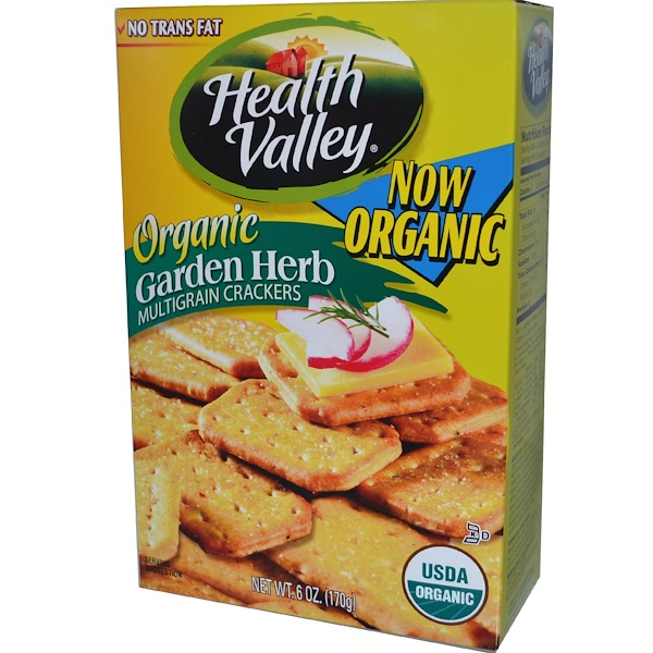Health Valley, Organic Multigrain Crackers, Garden Herb, 6 oz (170 g) (Discontinued Item)