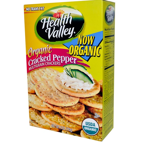 Health Valley, Organic Multigrain Crackers, Cracked Pepper, 6 oz (170 g) (Discontinued Item)