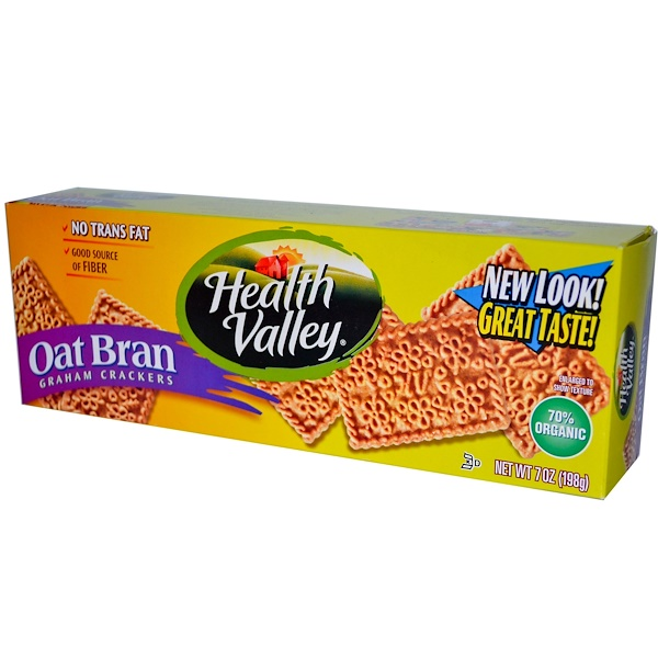 Health Valley, Oat Bran Graham Crackers, 7 oz (198 g) (Discontinued Item)