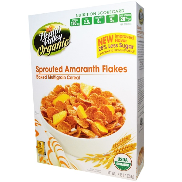 Health Valley, Organic, Baked Multigrain Cereal, Sprouted Amaranth Flakes, 12.65 oz (359 g) (Discontinued Item)