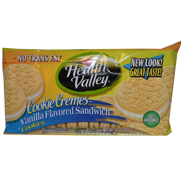 Health Valley, Cookie Cremes Sandwich, Vanilla Flavored, 12 oz (340 g) (Discontinued Item)