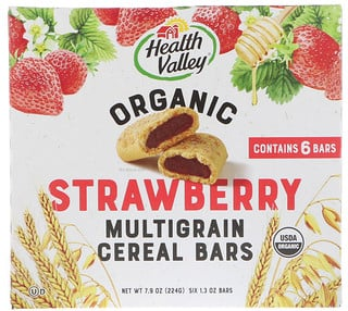 Health Valley, Organic Multigrain Cereal Bars, Strawberry, 6 Bars, 1.3 oz (37 g) Each